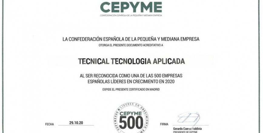 2020 CEPYME500 - LEADERS IN BUSINESS GROWTH