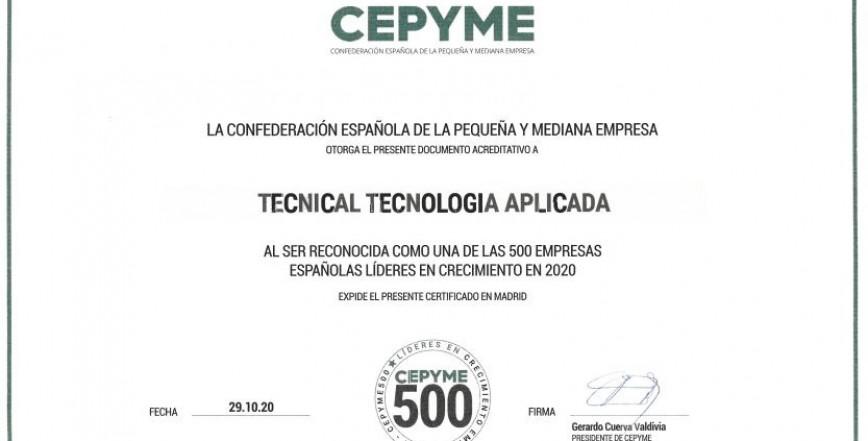 LÍDERS EN CREIXEMENT EMPRESARIAL 2020 CEPYME500